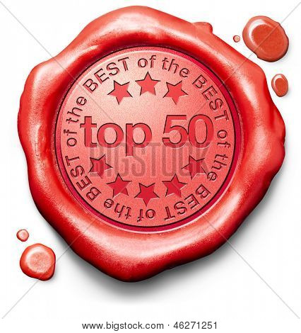 top 50 charts list pop poll result and award winners chart ranking music hits best top quality rating prize winner icon red wax seal stamp