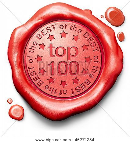 top 100 charts list pop poll result and award winners chart ranking music hits best top quality rating prize winner icon red wax seal stamp