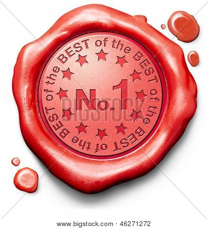 number 1 no. one charts or sports competition winners ranking results best top quality first prize award winner icon red wax seal stamp