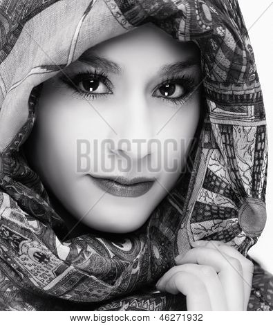Beautiful woman with head scarf