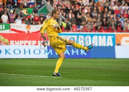 MOSCOW - SEP 7: Goalkeeper Roy Carroll on the game Russian team against Northern Ireland on Lokomotiv Stadium in Cherkizovo on Sep 7, 2012 in Moscow, Russia. The match ended 2-0 in favor of Russia.