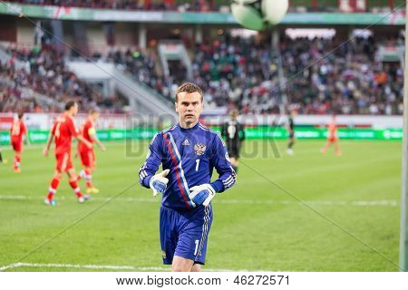 MOSCOW - SEP 7: Goalkeeper Igor Akinfeev on the game Russian team against Northern Ireland on Lokomotiv Stadium in Cherkizovo on Sept 7, 2012 in Moscow, Russia. The match ended 2-0 in favor of Russia.