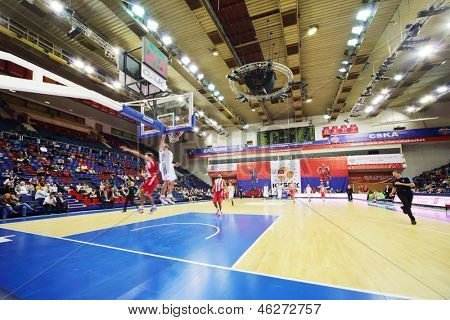 MOSCOW - SEPTEMBER 29: Olympiakos (Greece) and Lokomotiv-Kuban (Russia) teams play basketball in tournament for cup named Gomelsky in CSKA sports center, on September 29, 2012 in Moscow, Russia.