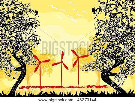 Wind Turbine On Sundown