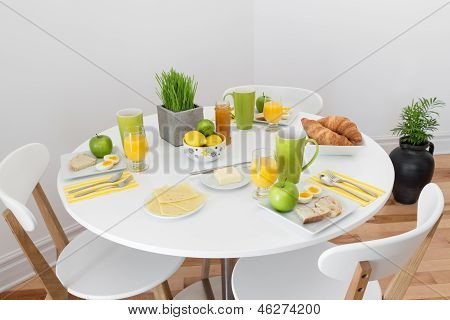 Round Table With Tasty Breakfast