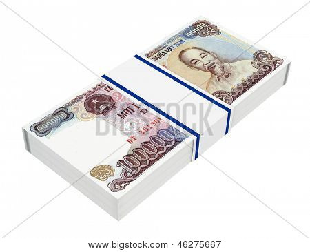 Vietnamese currency isolated on white background. Computer generated 3D photo rendering.