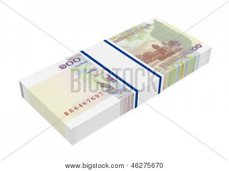 Cambodian money isolated on white background. Computer generated 3D photo rendering.