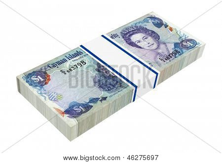 Cayman Islands money isolated on white background. Computer generated 3D photo rendering.