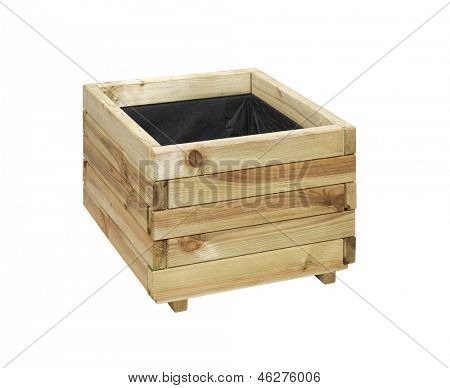 Wooden box for flowers isolated over white with clipping path.