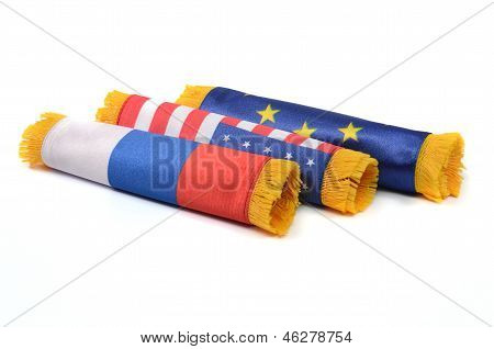 European Union, Russian Federation and United States of America flags