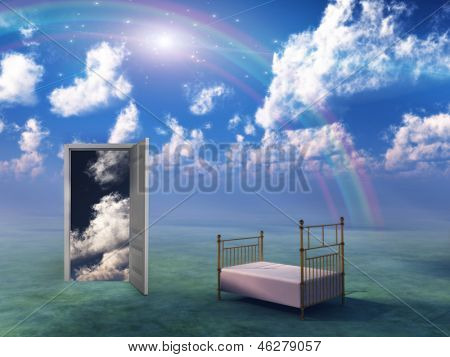 Bed in fantasy landscape