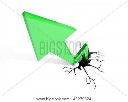 3D illustration of red arrow shooting up and breaking through a white floor.