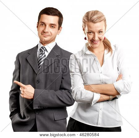 Business team, woman with folded hands and man with pointing finger