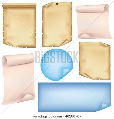 Set Of Paper Isolated On White Background