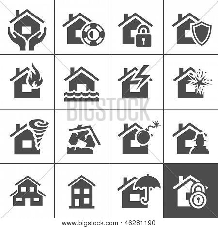 Property insurance icon set. Vector illustration. Simplus series