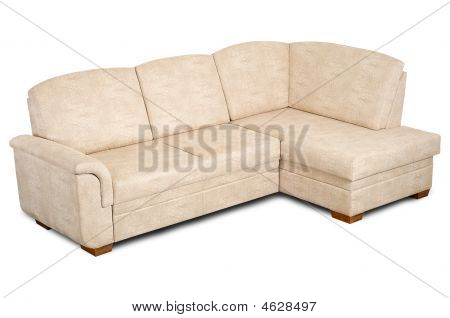 A Sofa In A Light Fabric