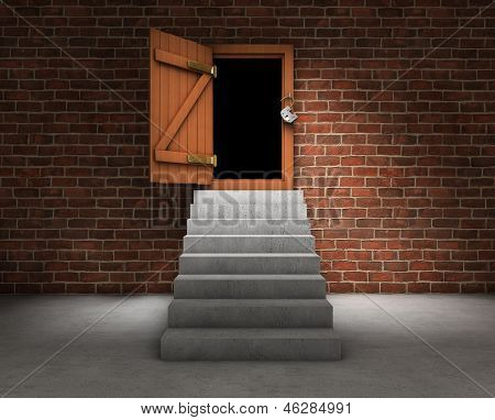 Stairs With Opened Door