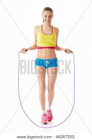Young girl with a skipping rope