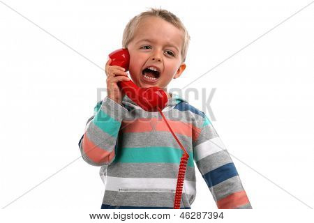Complaining and screaming into a red telephone