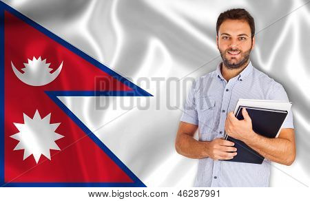 Male Student Of Languages ??on Nepal Flag