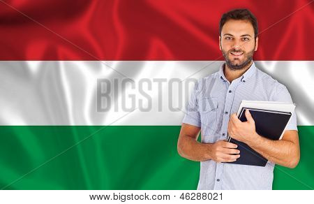 Male Student Of Languages ??on Hungarian Flag