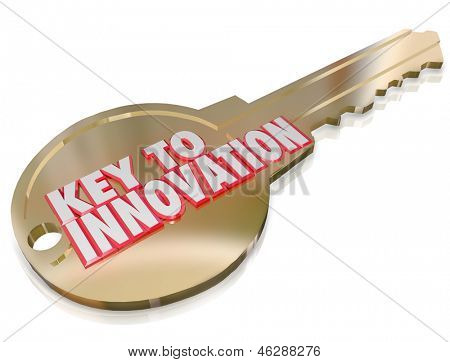 The words Key to Innovation on a gold key to illustrate creativity, imagination, engineering and other problem solving skills put to work to solve an issue or challenge