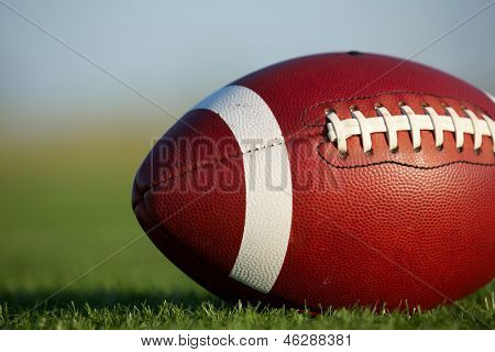 American Football on the Field Close Up with room for copy