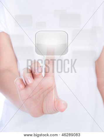 Woman hand  simulating pressing a button over body