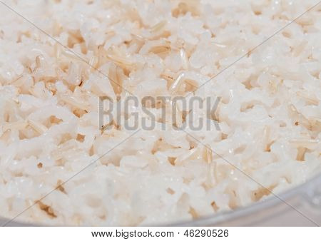 Close Up Grain Of Cooked Mix White And Brown Rice
