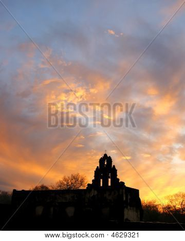 Old Spanish Mission At Sunset (silhouette)