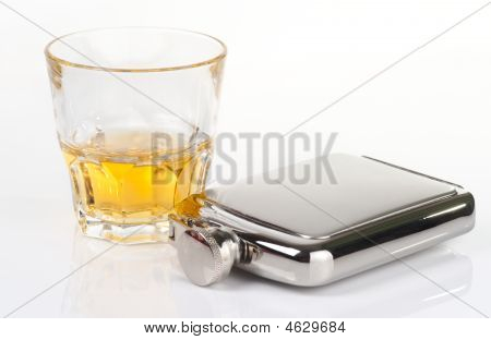 Stainless Flask And Whiskey Tumbler