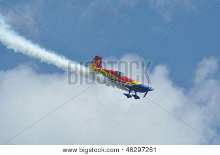 Airplane flight during an air show