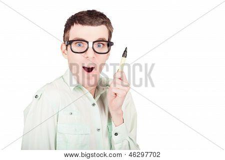 Nerd Business Man With Pen. Write A Smart Message
