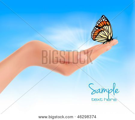 Hand holding a butterfly against a blue sky. Vector illustration.
