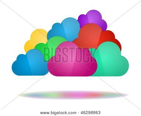 Set Of Color Clouds - Cloud Computing Concept