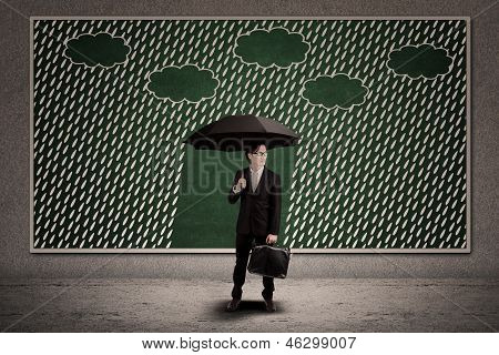 Agent insurance bring umbrella under rain drawing