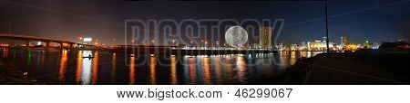 jeddah downtown panorama at night