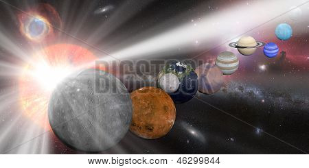 Solar system with sun white rays and milky way galaxy