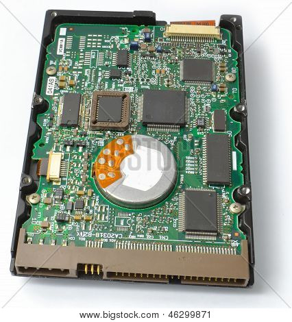 Bottom hard disk drive motherboard from the front