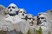 stock photo of mount rushmore national memorial  - Mount Rushmore National Memorial carved into the peaks of the Black Hills in South Dakota - JPG