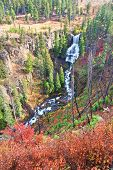 foto of undine  - Undine Falls on an autumn day in Yellowstone National Park of Wyoming.