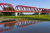 Red bridge over Mures river, Romania