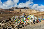 pic of manali-leh road  - Buddhist prayer flags  - JPG