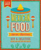 stock photo of mexican  - Vintage Mexican Food Poster - JPG