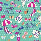 stock photo of backround  - Beautiful seamless pattern with summer elements - JPG