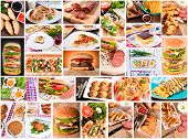 stock photo of greek  - Several varieties of the international food in collage - JPG