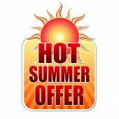 Hot Summer Offer In Label With Sun