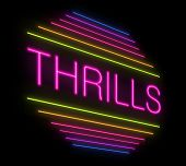 image of titillation  - Illustration depicting an illuminated neon thrills sign - JPG