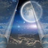 picture of heavens gate  - Veil of sky pulled open to reveal other - JPG