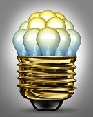stock photo of merge  - Ideas organization group and creativity partnership concept with glowing light bulbs organized in a united team as a symbol of the power of working together for innovation success - JPG